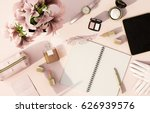 top view working space with... | Shutterstock . vector #626939576