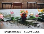 on a vintage wooden table are... | Shutterstock . vector #626952656