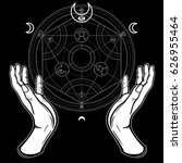 human hands touch an alchemical ... | Shutterstock .eps vector #626955464