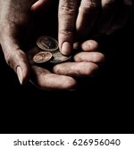poverty concept. hands with few ... | Shutterstock . vector #626956040