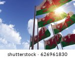 Wales Flags Waving In The Wind...
