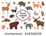 Stock vector forest animals set in flat style isolated on white background vector illustration carton animals 626968208