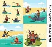 set of cartoon fisherman... | Shutterstock .eps vector #626968973
