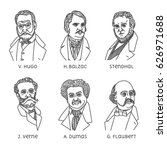 portraits of french famous... | Shutterstock .eps vector #626971688