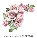 watercolor flowers. floral... | Shutterstock . vector #626979944