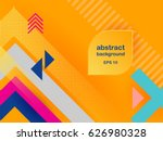 Vector abstract background texture design, bright poster, banner yellow background, pink and blue stripes and shapes. | Shutterstock vector #626980328