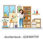 art studio interior. woman... | Shutterstock .eps vector #626984759