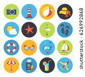 vector summer icon set. sunrise ... | Shutterstock .eps vector #626992868