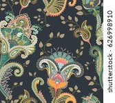 paisley floral seamless pattern.... | Shutterstock .eps vector #626998910