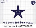 starfish icon vector... | Shutterstock .eps vector #627002828
