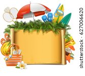 vector beach concept with scroll | Shutterstock .eps vector #627006620