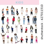 diverse of young children... | Shutterstock . vector #627011510