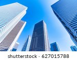 high rise buildings and blue... | Shutterstock . vector #627015788