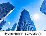 high rise buildings and blue... | Shutterstock . vector #627015974