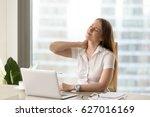 businesswoman feeling pain in... | Shutterstock . vector #627016169