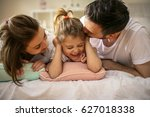happy family with one daughter... | Shutterstock . vector #627018338