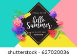 summer sale background layout... | Shutterstock .eps vector #627020036