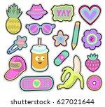 cartoon kids stickers or... | Shutterstock .eps vector #627021644