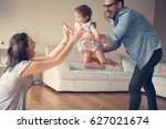 family playing at home with... | Shutterstock . vector #627021674