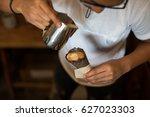 coffee in waffle cone   Shutterstock . vector #627023303