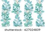 watercolor hand drawn seamless... | Shutterstock . vector #627024839