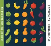 fruits and vegetables set... | Shutterstock .eps vector #627026216