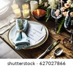 elegant restaurant table... | Shutterstock . vector #627027866