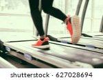 blurry of  running sport shoes...   Shutterstock . vector #627028694