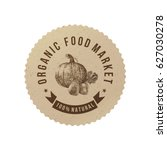 organic food market round paper ... | Shutterstock .eps vector #627030278