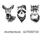 dressed up hand drawn animals... | Shutterstock .eps vector #627030710