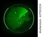 abstract digital green radar... | Shutterstock .eps vector #627031214
