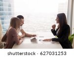 side view of realtor and young... | Shutterstock . vector #627031253