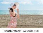 closeup of elegant woman... | Shutterstock . vector #627031718