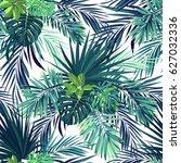 seamless hand drawn botanical...   Shutterstock . vector #627032336