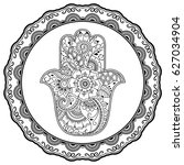 hamsa hand drawn symbol in...   Shutterstock .eps vector #627034904
