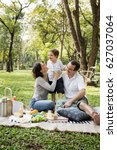 family picnic happiness...   Shutterstock . vector #627037064