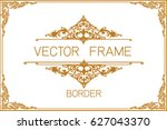 gold photo frame with corner... | Shutterstock .eps vector #627043370