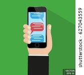 online sms communication via... | Shutterstock .eps vector #627043559