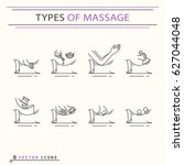 types of massage  icons. eps 10 ... | Shutterstock .eps vector #627044048
