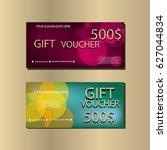 gift voucher template with... | Shutterstock .eps vector #627044834