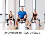 crossfit group workout with... | Shutterstock . vector #627046628