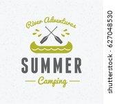 summer holidays camping poster. ... | Shutterstock .eps vector #627048530