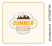 summer holidays camping poster. ... | Shutterstock .eps vector #627048740