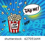 pop art fast food in the cinema.... | Shutterstock .eps vector #627051644