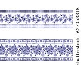 set of seamless vector hand... | Shutterstock .eps vector #627053318