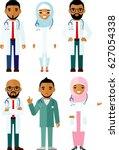 set of  arab medical people ... | Shutterstock . vector #627054338