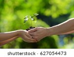 two hands holding together a... | Shutterstock . vector #627054473