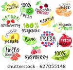 set of fruit labels and... | Shutterstock .eps vector #627055148
