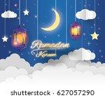 vector muslim paper art... | Shutterstock .eps vector #627057290