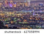 bright night scenes of taichung ... | Shutterstock . vector #627058994